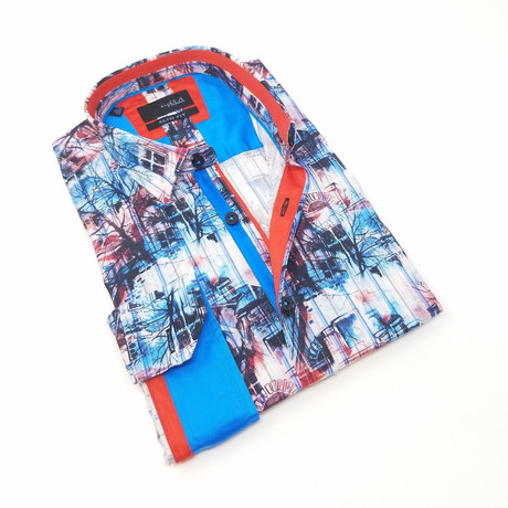 Cole Button-Up Shirt // Red + Blue (S)