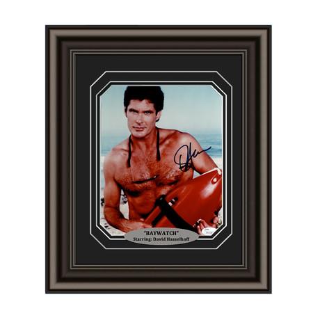 "David Hasselhoff // Signed Custom Framed ""Baywatch"" Photo"