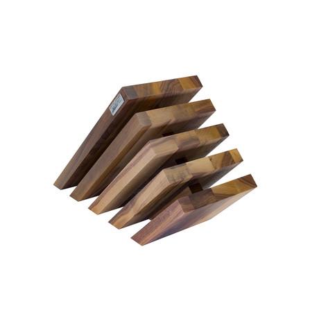 Venezia // 5 Element Magnetic Knife Block + Black Spacers (Beech)