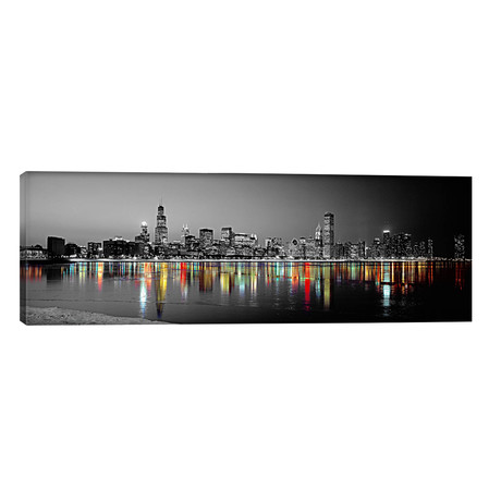 "Skyline at Night with Color Pop Lake Michigan Reflection, Chicago, Cook County, Illinois, USA // Panoramic Images (36""W x 12""H x 0.75""D)"