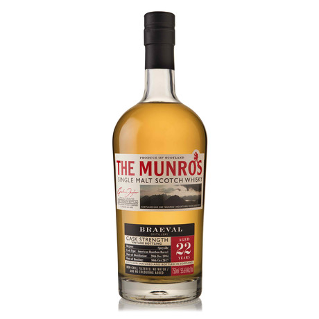 The Munro's Braeval Single Malt 22 Year Scotch