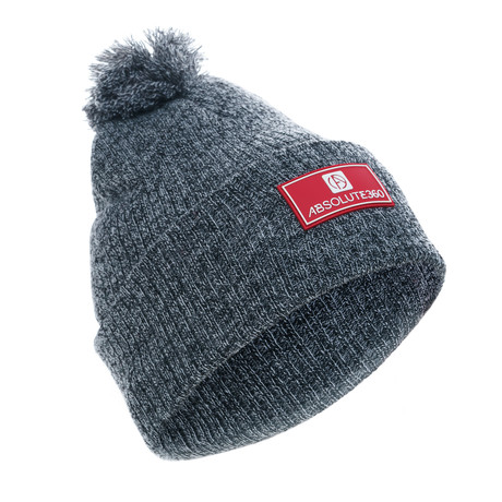 Rubber Patch Bobble Hat // Charcoal