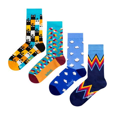 Patterned Socks // Blue // 4 Pack (US: 6-9)