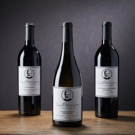 Ernest Hemingway Triple Wine Set // Cabernet Sauvignon +  Chardonnay + Zinfandel // 750 ml Each