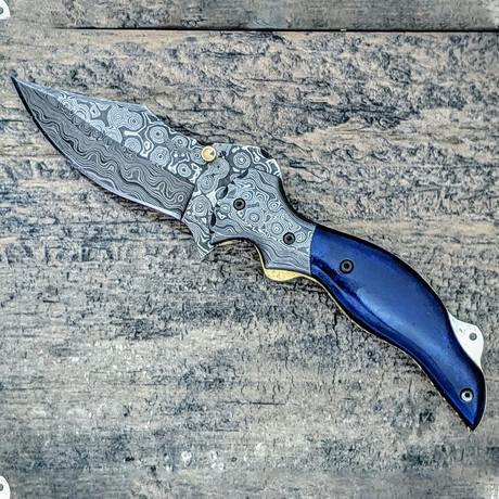 Skinner Style Blue Damascus Folder