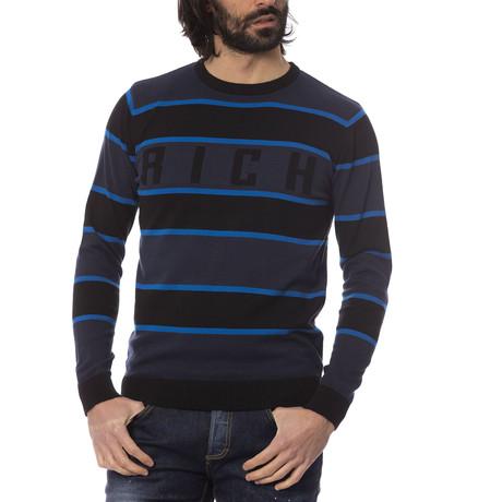 Elia Striped Crewneck Sweater // Blue (S)
