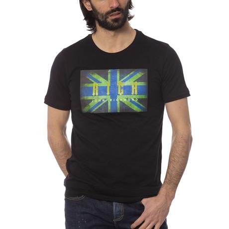 Union Jack Print T-Shirt // Black (S)