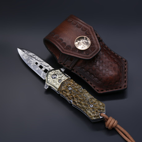 The Blue Sharp Damascus Folding Knife
