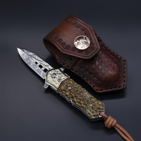 The Blue Sharp Damascus Folding Knife