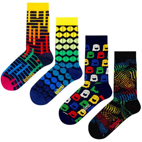 Patterned Socks // Navy // 4 Pack (US: 6-9)