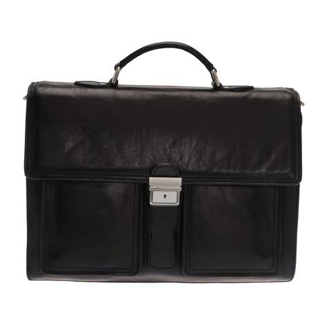Plinio Leather Briefcase Bag (Black)