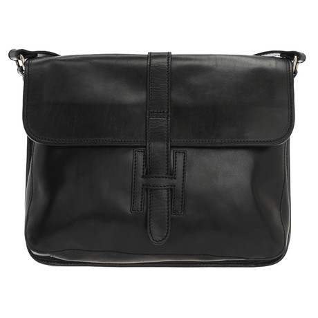 Tiziano Leather Messenger Style Bag (Black)
