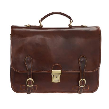 Enea Leather Briefcase Bag (Moro)