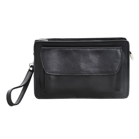Veneziano Small Leather Travel Bag (Black)