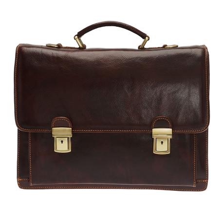 Apollo Leather Briefcase Bag (Black)
