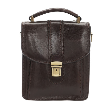 Tintoretto Leather Briefcase Bag (Black)