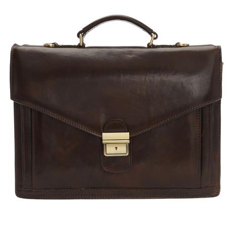 Spartaco Leather Briefcase Bag (Black)