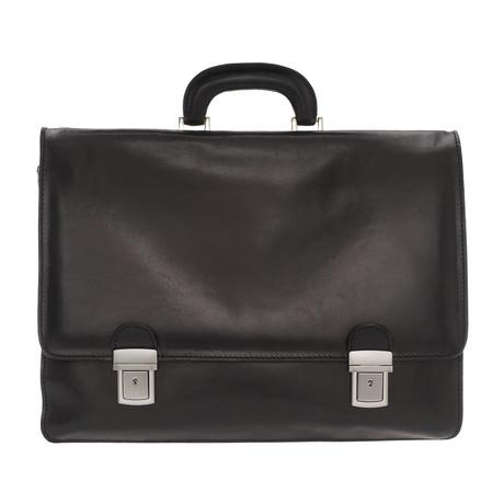 Saturno Leather Briefcase Bag (Black)
