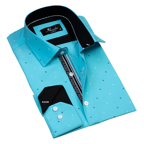 Diamonds Reversible Cuff Long-Sleeve Button-Down Shirt // Turquoise + Blue (XS)
