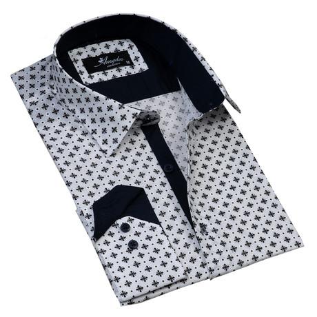 Reversible Cuff Button-Down Shirt // Gray + White + Black (S)
