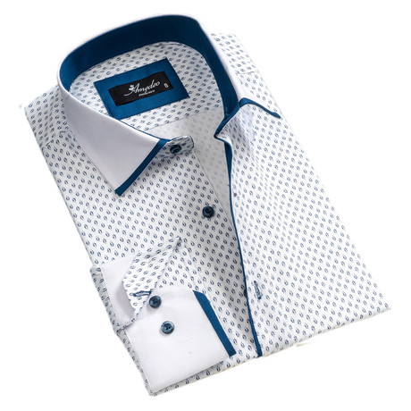 Reversible Cuff Button-Down Shirt // White + Blue (S)