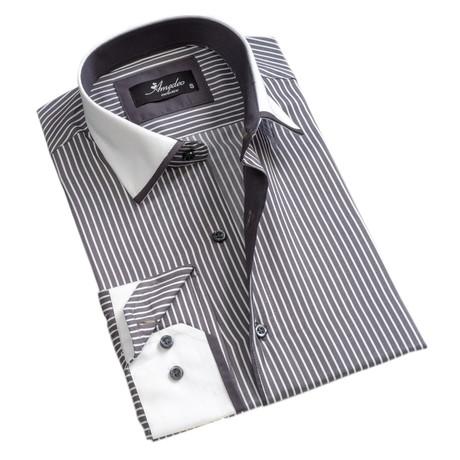 Reversible Line Print Cuff Button-Down Shirt // Gray + White (S)