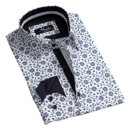 Floral Reversible Cuff Button-Down Shirt // White + Navy Blue (S)
