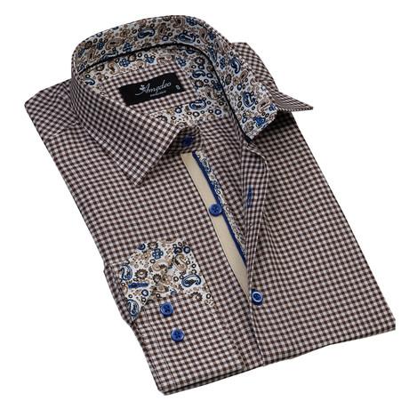 Checkered Reversible Cuff Button-Down Shirt // Brown + White (S)