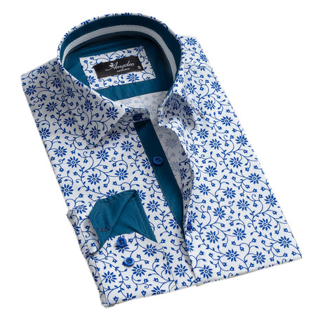 Floral Reversible Cuff Button-Down Shirt // White + Blue (S)