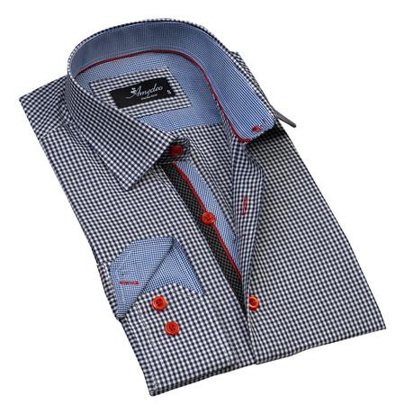 Checkered Reversible Cuff Button-Down Shirt // Navy Blue + White (S)
