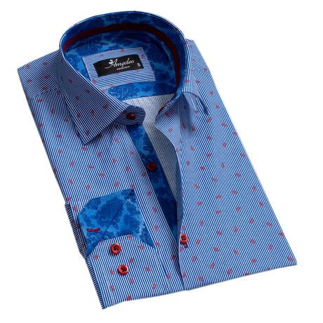 Striped Reversible Cuff Button-Down Shirt // Blue + White (S)