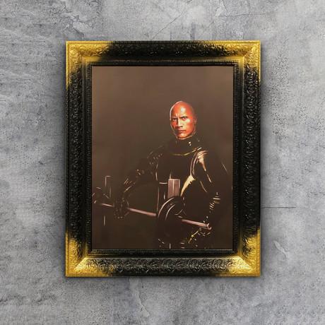 """Dwayne Johnson Art (32""""W x 24""""H x 1.2""""D Black Frame)"""