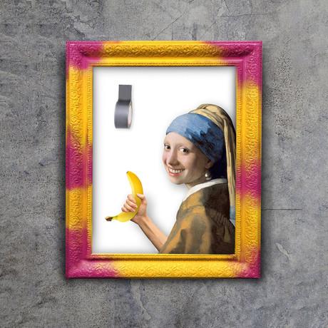 "Hungry Artist Banana Art (32""W x 24""H x 1.2""D Yellow Frame)"