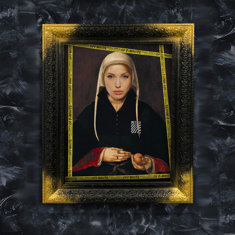 "Angelina Jolie Art (32""W x 24""H x 1.2""D Black Frame)"