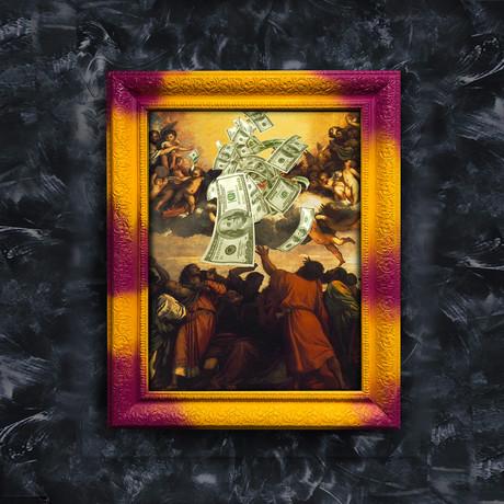 """Money Art (32""""W x 24""""H x 1.2""""D Yellow Frame)"""