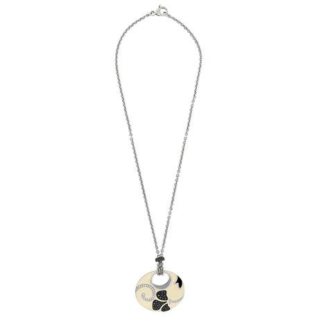 Nouvelle Bague 18k White Gold Diamond + Enamel Necklace