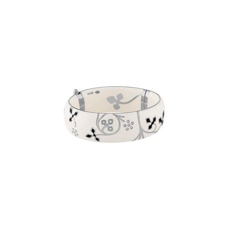 Nouvelle Bague Semi d'Amore 18k White Gold Diamond + White Enamel Bangle Bracelet