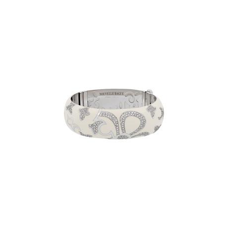 Nouvelle Bague 18k White Gold Diamond + White Enamel Bangle Bracelet