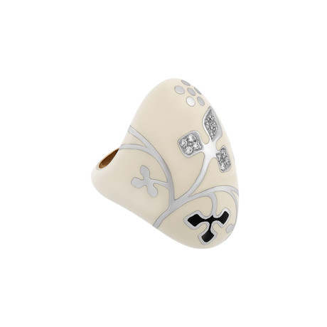 Nouvelle Bague 18k Two-Tone Gold Diamond + White Enamel Ring // Ring Size: 7.25