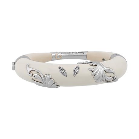 Nouvelle Bague Foglie d' Acanto 18k White Gold Diamond + White Enamel Bangle Bracelet