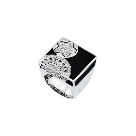 Nouvelle Bague 18k White Gold Diamond + Black Enamel Ring // Ring Size: 6.75