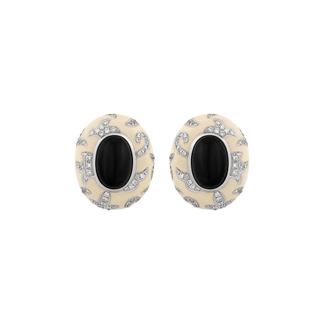 Nouvelle Bague Foglie d'Acanto 18k White Gold Diamond + Onyx + White Enamel Earrings