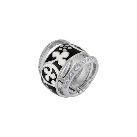 Nouvelle Bague Semi d'Amore 18k White Gold Diamond + Enamel Ring // Ring Size 7