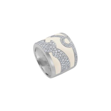 Nouvelle Bague Kenya 18k White Gold Diamond + White Enamel Ring // Ring Size: 5.75