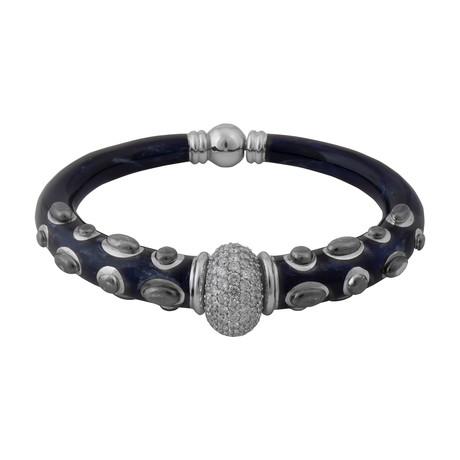 Nouvelle Bague Kenya 18k White Gold Diamond + Black Enamel Bangle Bracelet