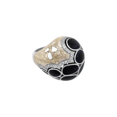 Nouvelle Bague Kenya 18k White Gold Diamond + Enamel Ring // Ring Size: 7.5
