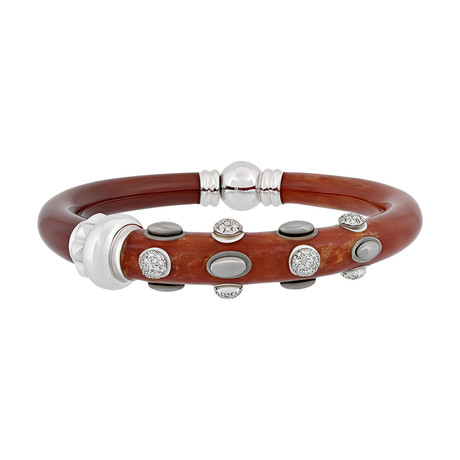 Nouvelle Bague Kenya 18k White Gold Diamond + Red Enamel Bangle Bracelet