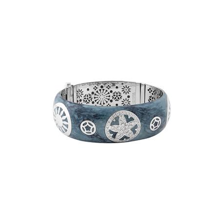 Nouvelle Bague India Preziosa 18k White Gold Diamond + Teal Enamel Bangle Bracelet