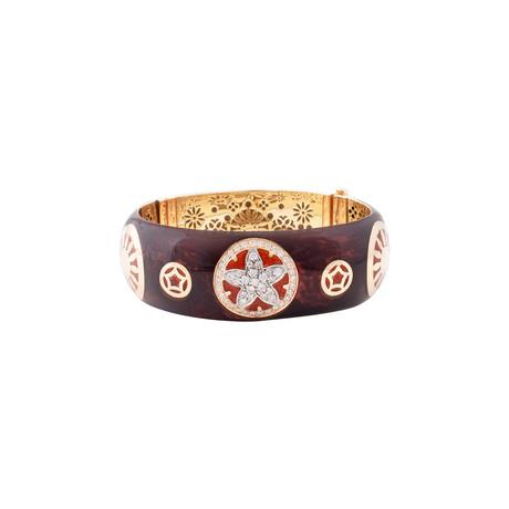 Nouvelle Bague India Preziosa 18k Yellow Gold Diamond + Burgundy Red Enamel Bangle Bracelet