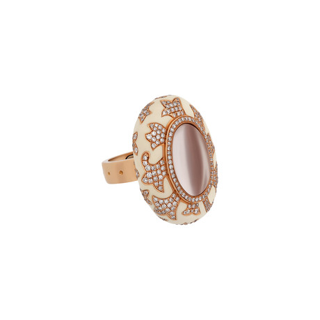 Nouvelle Bague 18k Rose Gold Diamond + White Enamel Ring // Ring Size: 6.5